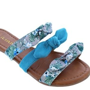 Blue Gray Strap Floral Knotted Bow Slides Sandals